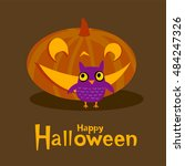 halloween greeting card with... | Shutterstock .eps vector #484247326