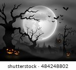 halloween night background with ... | Shutterstock .eps vector #484248802
