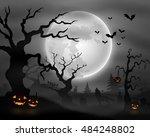 halloween night background with ... | Shutterstock .eps vector #484248802