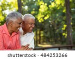 happy mature african american... | Shutterstock . vector #484253266