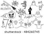 halloween doodle hand drawing | Shutterstock . vector #484260745