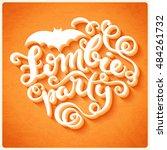 happy halloween card with hand... | Shutterstock .eps vector #484261732