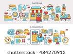 flat vector banners. shopping....   Shutterstock .eps vector #484270912