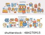 flat vector banners. shopping....   Shutterstock .eps vector #484270915