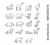 various animal icon. thin line... | Shutterstock .eps vector #484284376