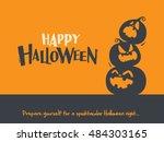 happy halloween  stacked... | Shutterstock .eps vector #484303165