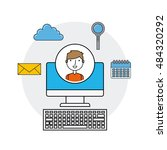 online security flat line icons ... | Shutterstock .eps vector #484320292