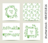 set of four herbal card... | Shutterstock .eps vector #484351816