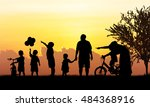 silhouette of happy family... | Shutterstock . vector #484368916