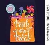 trick or treat. bag full of... | Shutterstock .eps vector #484371298