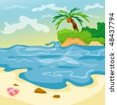 illustration of cartoon seascape | Shutterstock .eps vector #48437794