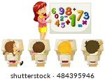 students learning math in... | Shutterstock .eps vector #484395946