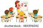 math teacher teaching children... | Shutterstock .eps vector #484396042