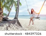 beautiful woman sitting on a... | Shutterstock . vector #484397326