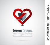 gray shield in red heart logo... | Shutterstock .eps vector #484402372