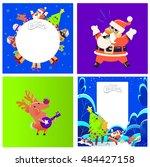 christmas cards  santa and deer | Shutterstock .eps vector #484427158