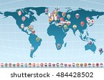 markers with flag for map ... | Shutterstock .eps vector #484428502