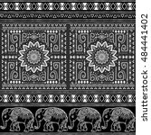 pattern with baby elephant and... | Shutterstock .eps vector #484441402