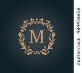 elegant floral monogram design... | Shutterstock .eps vector #484456636