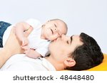 happy family home  father... | Shutterstock . vector #48448480