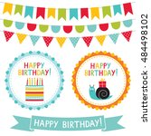 kid party vector badges and... | Shutterstock .eps vector #484498102
