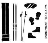 silhouettes of ski equipment...   Shutterstock .eps vector #484516795