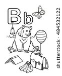 alphabet coloring page   b | Shutterstock .eps vector #484532122