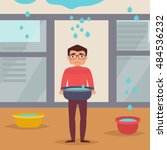 leaking roof. man stands with... | Shutterstock .eps vector #484536232