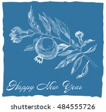 pomegranate  jewish new year... | Shutterstock .eps vector #484555726