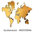 3d illustration. world map on a ... | Shutterstock . vector #484555846
