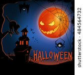 halloween night background with ... | Shutterstock .eps vector #484564732