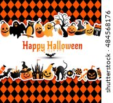 halloween banner on colors... | Shutterstock .eps vector #484568176