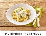 plate of italian penne pasta... | Shutterstock . vector #484575988