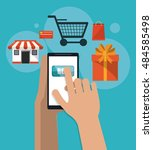 shopping online ecommerce and... | Shutterstock .eps vector #484585498