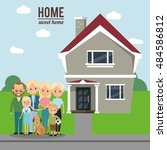 home house building and family... | Shutterstock .eps vector #484586812