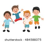group of happy boys cartoon kids | Shutterstock .eps vector #484588375