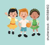group of happy boys and girls... | Shutterstock .eps vector #484588402