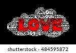 love word cloud in grunge style | Shutterstock . vector #484595872