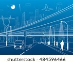 car overpass  infrastructure ... | Shutterstock .eps vector #484596466