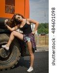 fashionable sportive girl...   Shutterstock . vector #484601098