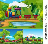 train riding in the countryside ... | Shutterstock .eps vector #484680202
