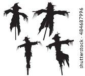 set of scarecrows  vector...
