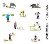lifestyle of farmer shape... | Shutterstock .eps vector #484688032