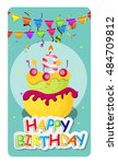 happy birthday card baner... | Shutterstock . vector #484709812