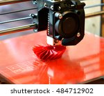 3d printer prints red form | Shutterstock . vector #484712902