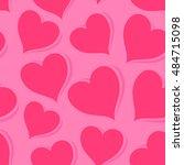 pink hearts  vector seamless... | Shutterstock .eps vector #484715098
