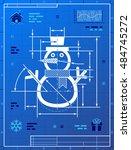 christmas snowman symbol as... | Shutterstock . vector #484745272