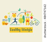 healthy life style in flat... | Shutterstock .eps vector #484747162