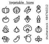 vegetable icon set in thin line ... | Shutterstock .eps vector #484760212