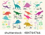 dinosaur cartoon collection set ... | Shutterstock .eps vector #484764766